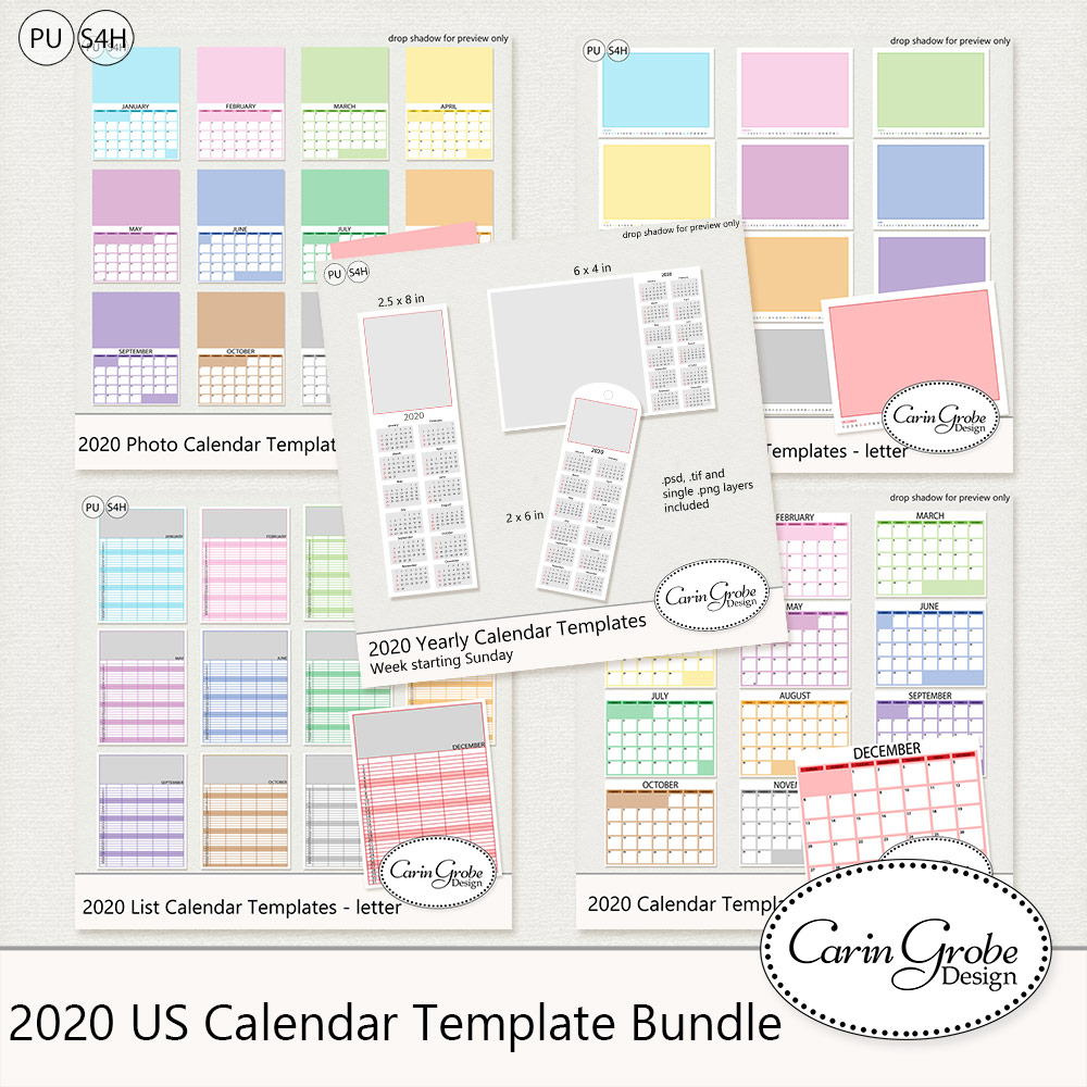 2019 Calendar Templates by Carin Grobe Design