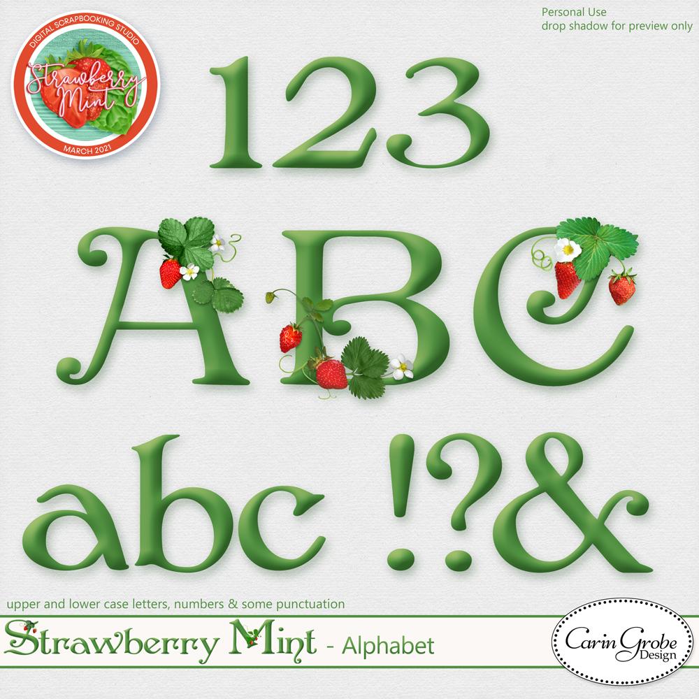 Strawberry Mint Alpha by Carin Grobe Design