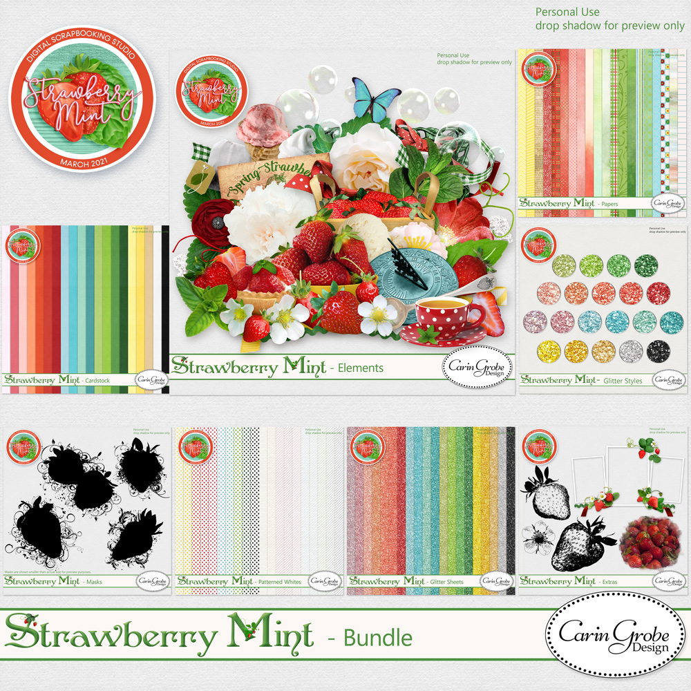 Strawberry Mint Collection by Carin Grobe Design